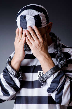 Convict criminal in striped uniform Stock Photo - 18803588