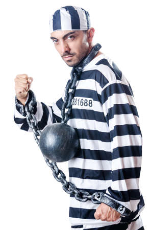 Convict criminal in striped uniform Stock Photo - 18805123