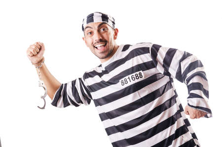 Convict criminal in striped uniform Stock Photo - 18805043