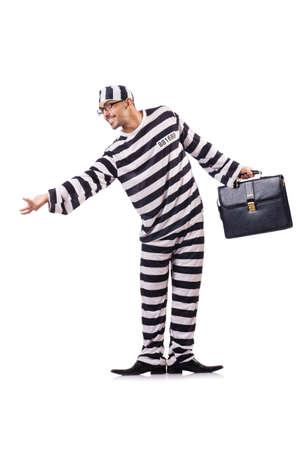 Convict criminal in striped uniform Stock Photo - 18956740