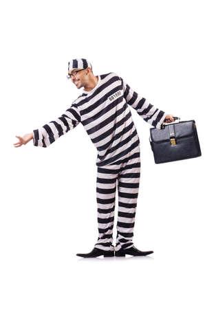 Convict criminal in striped uniform Stock Photo - 18956740