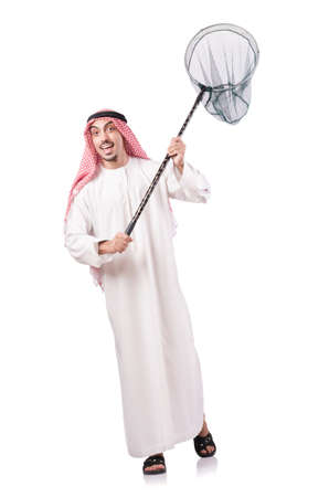 arab spring: Arab businessman with catching net on white Stock Photo