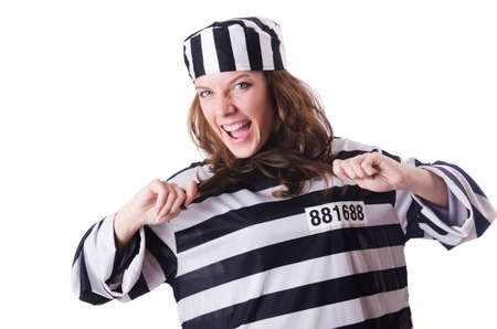 Convict criminal in striped uniform Stock Photo - 18805045