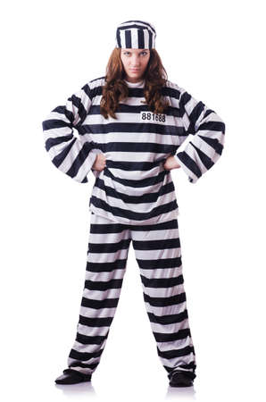 Convict criminal in striped uniform Stock Photo - 18804452