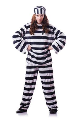 inmate: Convict criminal in striped uniform Stock Photo