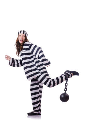 Prisoner in striped uniform on white Stock Photo - 18803349