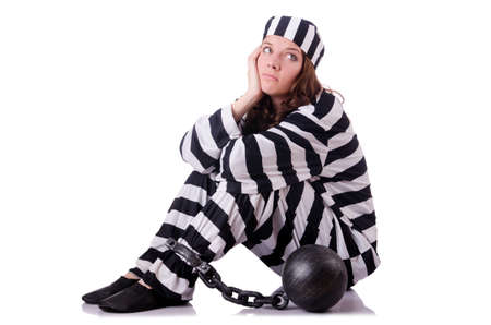 Prisoner in striped uniform on white Stock Photo - 18804417