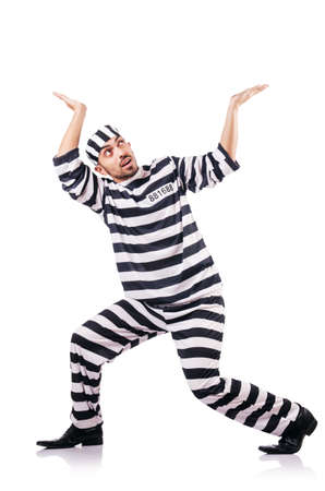Convict criminal in striped uniform Stock Photo - 18804213