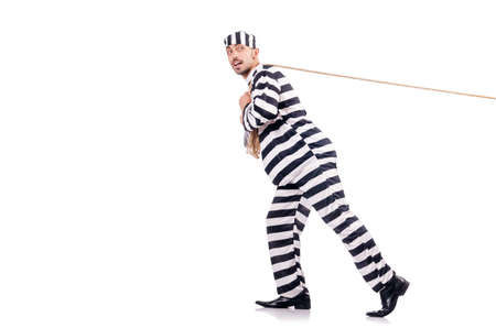 Convict criminal in striped uniform Stock Photo - 18803306