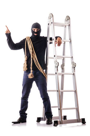 perpetrator: Burglar wearing balaclava isolated on white