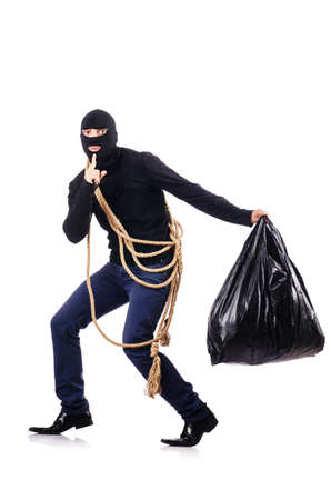 Burglar wearing balaclava isolated on white photo