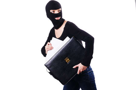 industrial espionage: Industrial espionage concept with person in balaclava Stock Photo