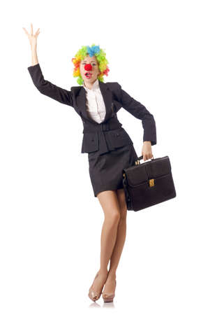 Woman clown in business suit Stock Photo - 18803369