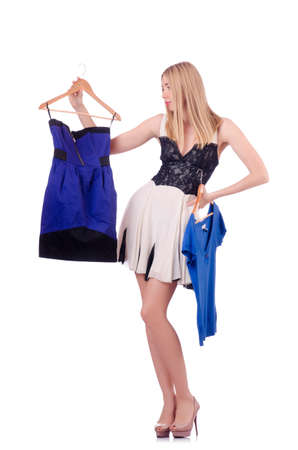 Woman trying new clothing on white Stock Photo - 18804366
