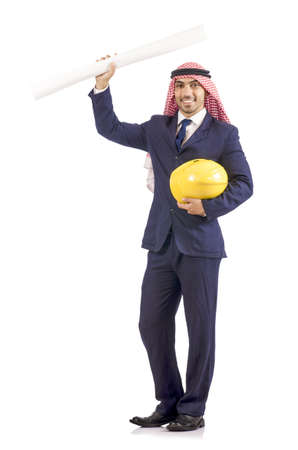 Arab engineer with drawings on white Stock Photo - 18804217