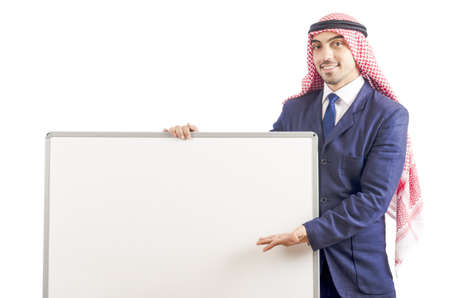 Arab man with blank board for message Stock Photo - 18804950