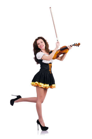 Young woman playing violin on white Stock Photo - 19005109
