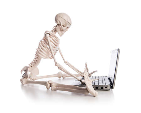 Skeleton working on laptop Stock Photo - 19009214