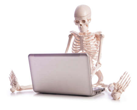 Skeleton working on laptop Stock Photo - 19012939