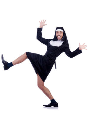 Male nun in funny religious concept photo