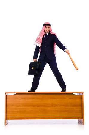 Arab businessman hitting with baseball bat Stock Photo - 19005398