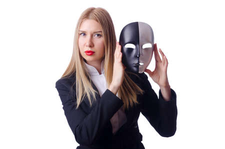 Woman with mask in hypocrisy concept Stock Photo - 19005492