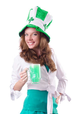 Young girl in saint patrick celebration concept Stock Photo - 19005593