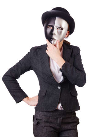 Woman with mask in hypocrisy concept Stock Photo - 19029149