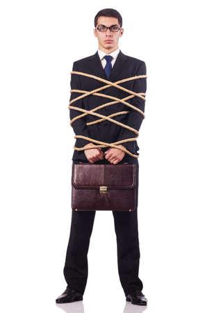 roped: Empresario atado con una cuerda en blanco