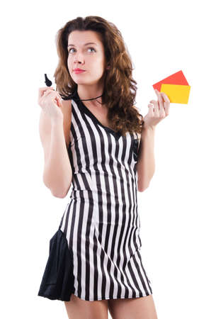 Woman referee with card on white Stock Photo - 19005562
