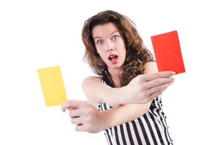 Woman referee with card on white Stock Photo