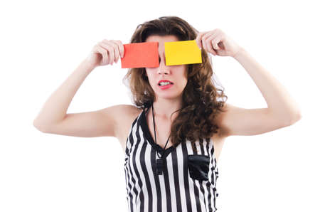 Woman referee with card on white Stock Photo - 19005490