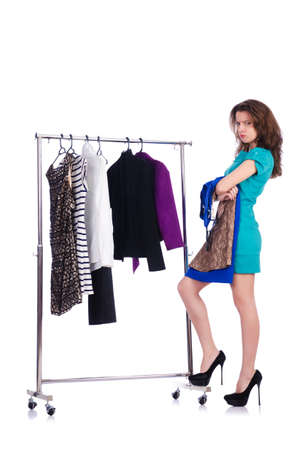 Woman trying new clothing on white Stock Photo - 19028941