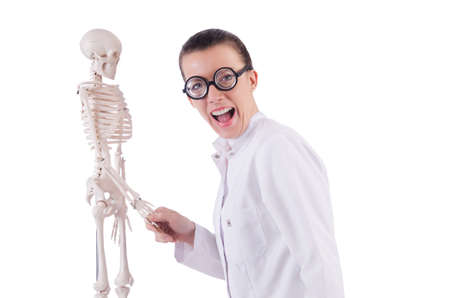Doctor with skeleton on white Stock Photo - 19028871