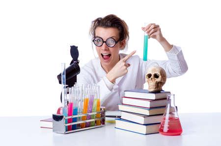 Crazy female chemist in lab Stock Photo - 19029023