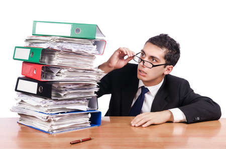 Young busy businessman at his desk Stock Photo - 19029102