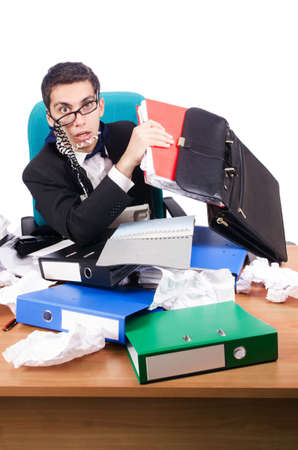 Young busy businessman at his desk Stock Photo - 19029119