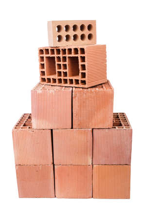 Stack of clay bricks isolated on white Stock Photo - 19012572