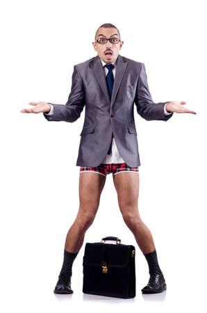 pantalones abajo: sin pantalones hombre de negocios con maletín en blanco