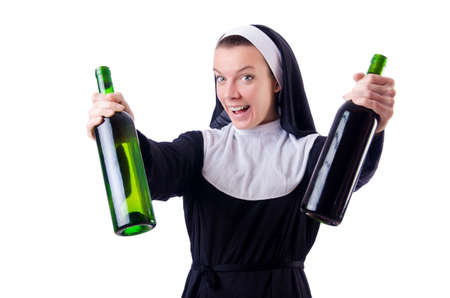 Nun with bottle of red wine Stock Photo - 19028972