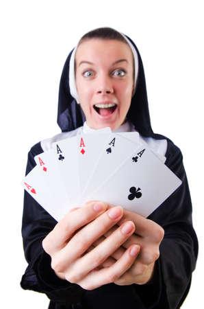 Nun in the gambling concept Stock Photo - 19028996