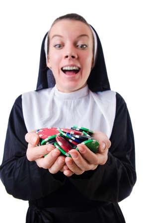Nun in the gambling concept Stock Photo - 19028993