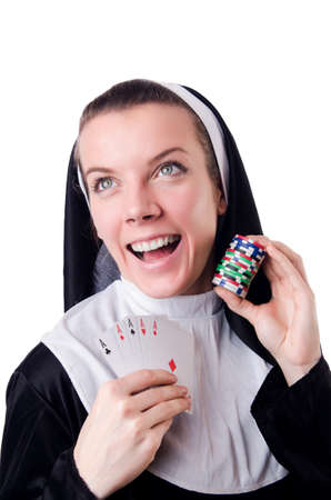 Nun in the gambling concept Stock Photo - 19029114