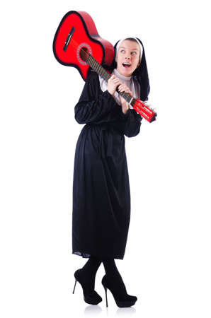 Nun playing guitar isolated on white Stock Photo - 19028887