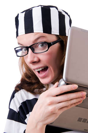 Criminal hacker with laptop on white Stock Photo - 19029151