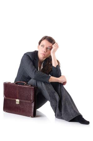 Bankrupt businesswoman isolated on white Stock Photo - 19029032