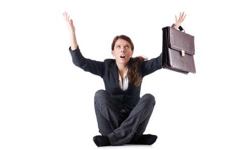 Bankrupt businesswoman isolated on white Stock Photo - 19028936