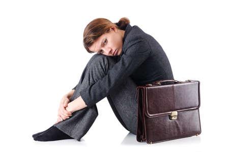 Bankrupt businesswoman isolated on white Stock Photo - 19029108