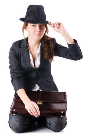 Bankrupt businesswoman isolated on white Stock Photo - 19028536