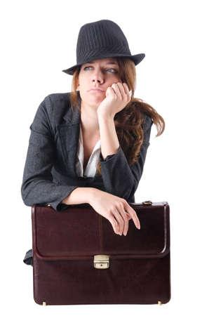 Bankrupt businesswoman isolated on white Stock Photo - 19029095